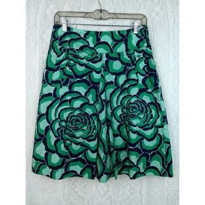 Ann Taylor Green Floral Flare Skirt Size 2